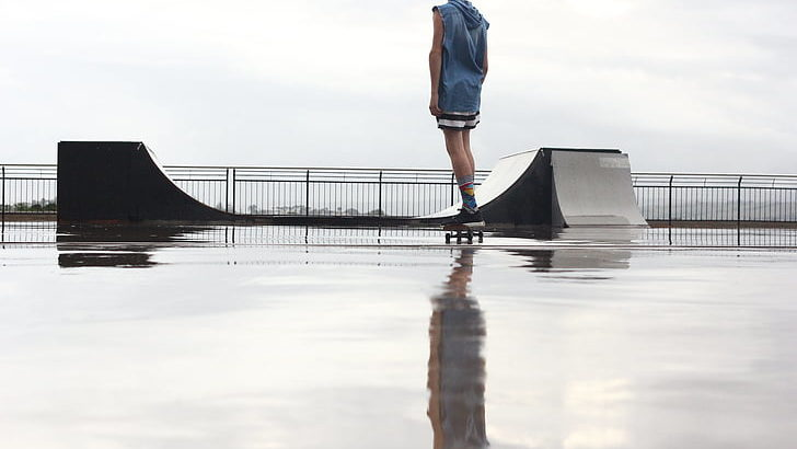 Skateboarding In The Rain